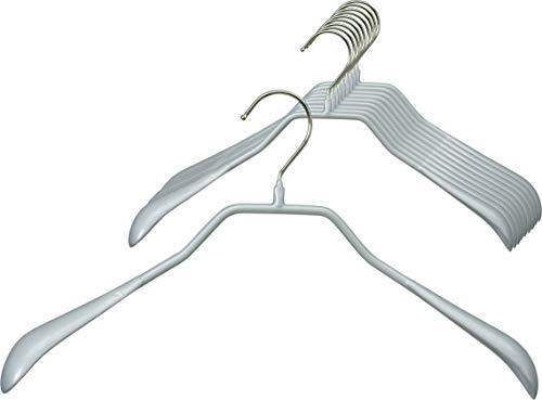 MAWA 10 grucce appendiabiti in metallo sagomato per giacche, cappotti, blazer e giacche con gancio girevole a 360°, rivestimento antiscivolo di alta qualità, larghezza 42 cm, colore: argento