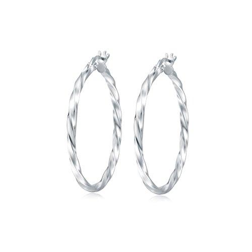 Creolen Ohrringe Twisted Rund Hängend Huggie für Frauen Damen Mädchen - Durchmesser 35 mm