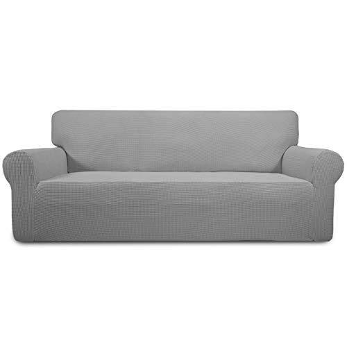 Greatime Stretch Sofabezug Sofaüberwurf Möbelschutz Sofaüberzug Couchbezug Couch Schild Sofahusse Weich mit Gummiband Schaumstreifen(Hellgrau,Übergroß-3-Sitzer)