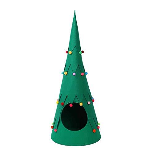 FBGood Weihnachtsbaum Katze Haus Niedlich Katzenzelt Bett für Katzen Innen Keller Warm Weich Winter Tier Katze Katze Semi-Fermé in Form von Baum Tier Nest grün