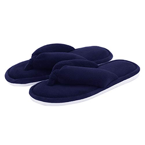 Damen-Hausschuhe, Korallen-Fleece-Zehensteg, Flip-Flops für Damen, Blau - navy - Größe: 38/39 EU