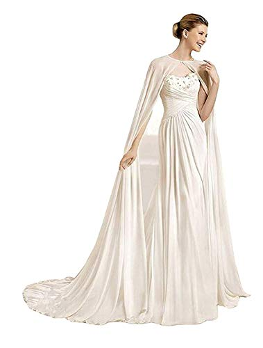 Kengtong 200CM Weiß Lang Chiffon Hochzeits Umhang Brautcape Brautjacke Damen Brautstola Bolero (Ivory, 300cm)