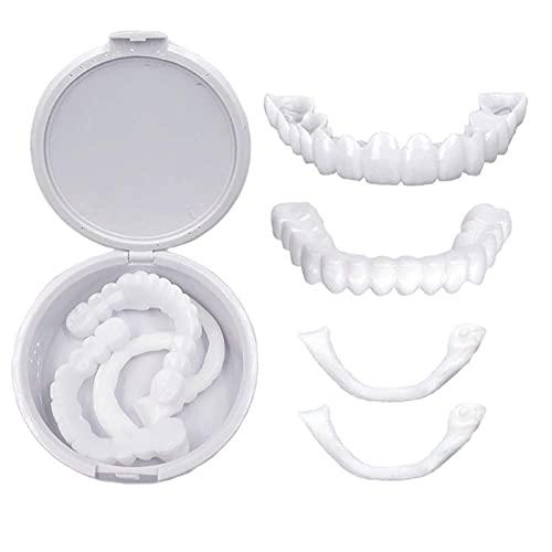JRTF Carillas Dentales Silicona Smile, Carillas Instantáneas Dientes y Abajo Dentadura Postiza Dientes Cosméticos Flexibles Dientes Limpios y Hermosos para Cubrir Los Dientes Perdidos
