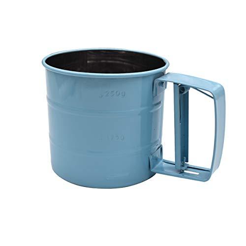 Liwein Edelstahl Einhand Mehlsieb Handgeführt Feinmaschiges Sieb Einhandsieb Handsieb Mehlsieb-Siebe Puderzuckerstreuer Shaker Sieb Tasse für Mehl und Puderzucker(Blau)