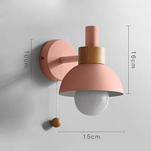 Nordic eenvoudige macaron kleur schilderen ijzer enkele kopwand lamp voor woonkamer nacht decoratie hout groene LED E27 verlichting