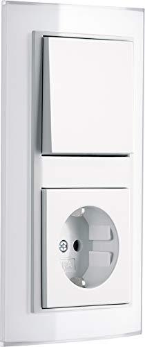 GIRA EVENT KLAR Weiß Komplett-Sets - Reinweiß GLÄNZEND System 55 (1x Steckdose, 1x Wechselschalter, 1x Rahmen 2f, 1x Wippe)