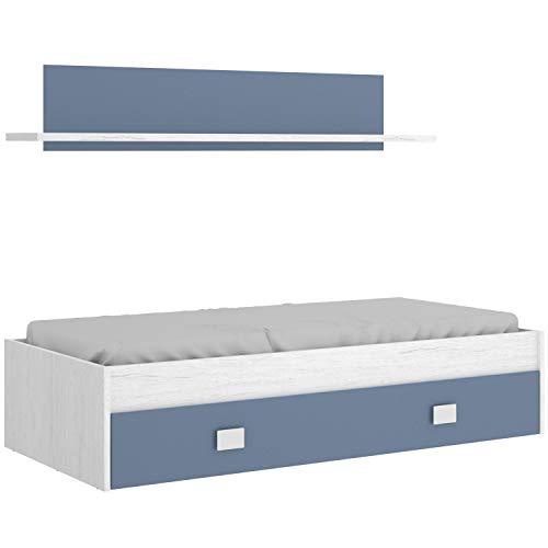 HABITMOBEL Cama Nido Juvenil con Cajon y Estante Superior Acabado Artic y Azul. para colchón de 90x190cm…