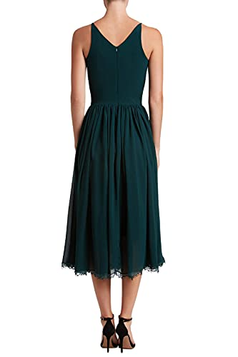 Dress the Population Women's Alicia Plunging Mix Media Sleeveless Fit and Flare Midi Dress, Pine, l
