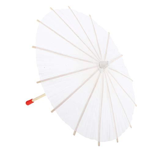 B Blesiya Papierschirmchen Cocktailschirmchen Dekoschirmchen Cocktail Schirmchen - Weiß, 20 cm
