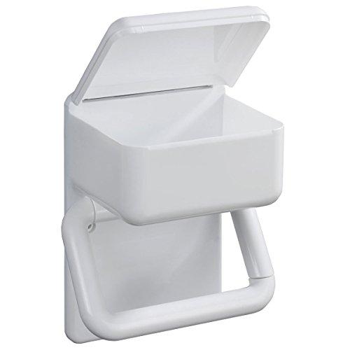 WENKO Duo-Papierhalter, Toilettenpapierhalter & Feuchttuchhalter, Badezimmer WC Badaccessoires Klopapier, Kunstsoff, 21 x 15 x 11 cm