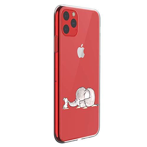 Alsoar Compatible para Funda iPhone 11 Pro 2019 (5.8 Inch) Carcasa Silicona TPU Suave Transparente Anti-Choque Protector Caso Patrón Lndo Ultra-Delgado Anti-arañazos Caja (Conejito Elefante)