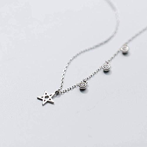 S925 zilveren halsketting voor dames, halsketting, ronde boor, holle, zespuntige ster, sleutelhanger, 925 zilveren ketting, 925 zilver, EEH A Ketting