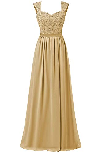Brautjungfernkleider Lang Ballkleider Chiffon Formelle Abendkleider Spitze A Linie Applikationen Gold EU34