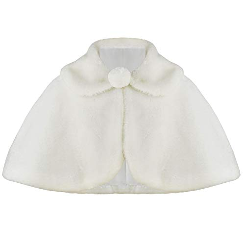 BluNight Collection Little Girls Short Sleeve Collar Pearl Button Faux Fur Flower Girl Bolero