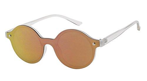 Chic-Net Sonnenbrille Flachglas Round Glasses Retro Doppelsteg 100% UV Polycarbonatglas rund gelb