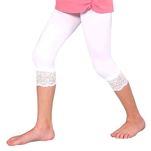 Kinder 7/8 Länge Leggings mit Spitze 70 DEN Microfaser, Farben alle:00 weiß, Größe:158/164