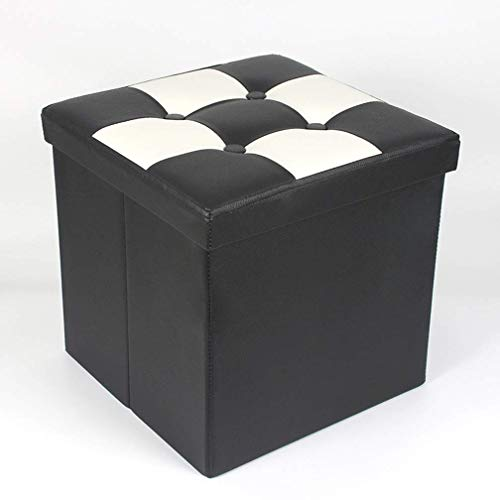 XIAO WEI Ottoman Storage Boxes Faux Leather Foldable Ottoman Toy Organizer Footstool Shoe Storage Box Footrest Square in 38 38 38Cm Black