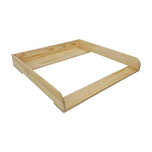 Puckdaddy Wickelaufsatz Nils – 80x78x10 cm, Wickelauflage aus Holz in Natur, hochwertiger Wickeltischaufsatz passend für IKEA Malm Kommoden, inkl. Montagematerial zur Wandbefestigung