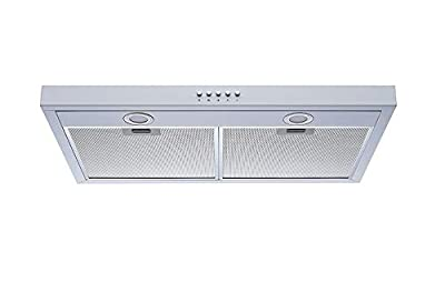 Winflo 30 In. 350 CFM Convertible Under Cabinet Range Hood in White with Mesh Filters and Push Buttons