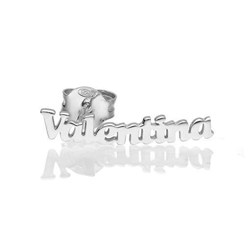 Mono Orecchino In Argento Con Nome V (Valentina)