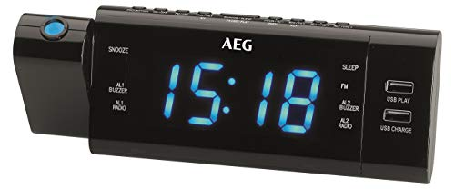 AEG MRC 4159 P Uhrenradio mit Projektion, LED-Display, 10 Stationsspeicher, 2X USB-Anschluss (1x Lade-/1x Wiedergabefunktion), 2 Stufen-Dimmer schwarz
