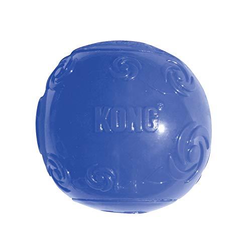 KONG – Squeezz Ball – Robustes Quietschspielzeug, Springt und Quietscht bei Perforierung (Farbvar.) – Für Mittelgroße Hunde