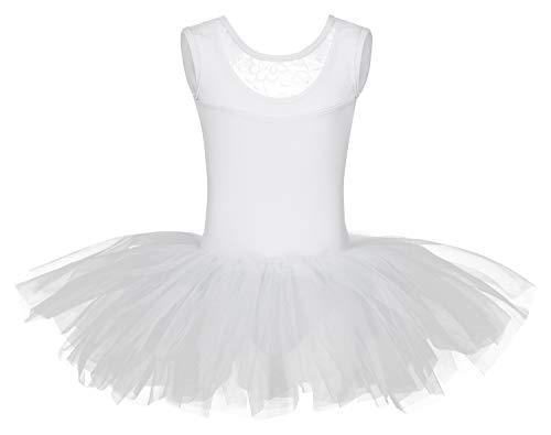 tanzmuster ® Ballettkleid Mädchen Tutu - Lottie - aus weichem Baumwollmaterial mit Spitzeneinsatz vorn und Tuturock Trikot fürs Kinder Ballett in weiß, Größe:140/146