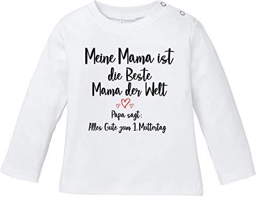 EZYshirt® Alles Gute zum 1. Muttertag | Muttertagsgeschenk T-Shirt Baby Langarm Bio Baumwolle