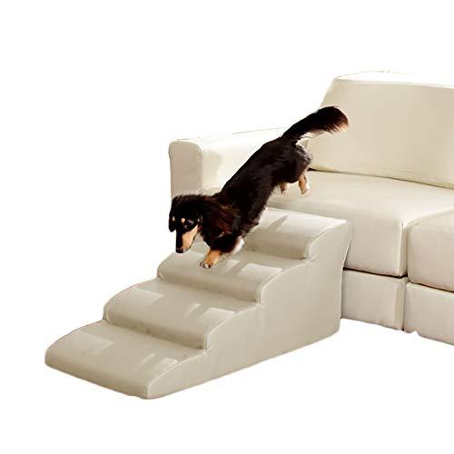 HWL Escaleras para Mascotas Rampa De Escaleras para Mascotas De 4 Escalones para Coche con Sofá Cama Alto, Escalera De Gatos Blanco para Perros con Respaldo Antideslizante/Cubierta Lavable Extraíble