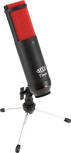 MXL Mics, 1 Condenser Microphone, Black/Red, 2.95 x 5.91 x 12.20 inches (MXL-TEMPO-KR)