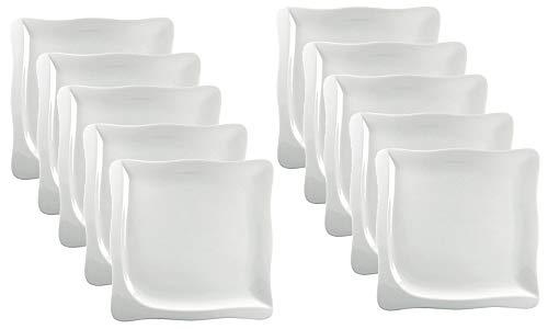 10er SET CreaTable - GOURMET - Teller 22 cm aus Porzellan/Kuchenteller/Frühstücksteller