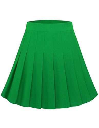 Women Pleated Mini Skirt Girl Short Casual Skirt High Waisted A Line Skater Tennis Skirt Basic Versatile Stretchy Flared Uniform School Skirts Green S
