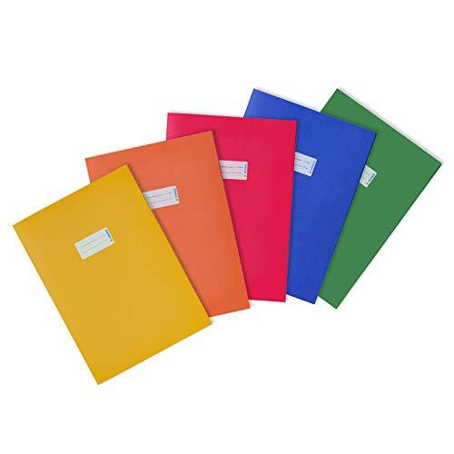 HERMA 20229 - Copertina per quaderno, formato DIN A4, con spazio per scrivere, in carta riciclata resistente e colori accesi, per quaderni, giallo, arancione, rosso, blu, verde