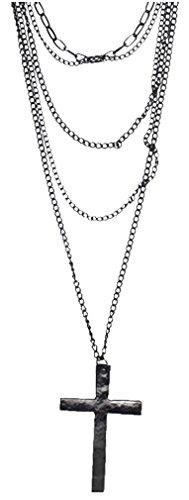 Leegoal Fashion Retro Multi-layer Chain Pendant Black Cross Metal Long Necklace Gift