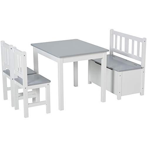 Ensemble de table et chaises enfant - set de 4 pièces - table, 2 chaises, banc coffre 2 en 1 - MDF pin blanc gris