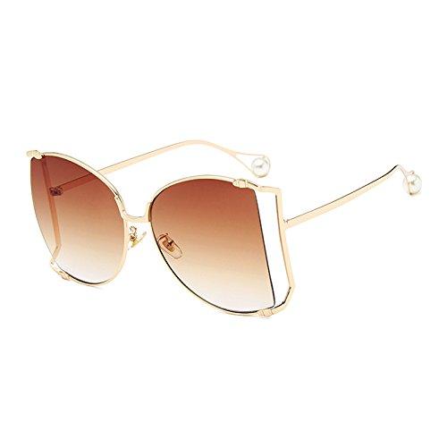 Burenqi@@ Nieuwe Vrouwelijke Zonnebril Vrouwen Legering Unieke Bril Luxure Merk Desiger Gradient Parel Frame Bril Uv400