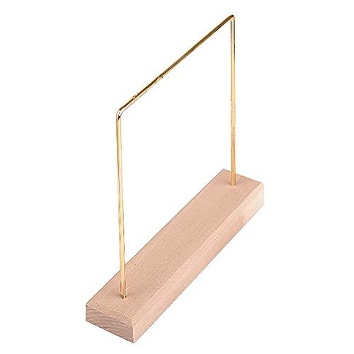 XKMY Soporte de exhibición para pendientes de metal de madera, soporte de exhibición, cadena y colgante de cadena, expositor de joyas (color: color de madera)