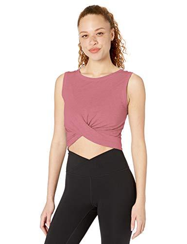 Core 10 Pima Cotton Blend Knot Front Cropped Yoga Tank Camisa, Carmín, XS