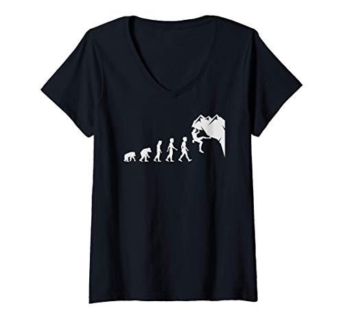 Mujer Regalos divertidos de la evolución de la escalada en roca Camiseta...