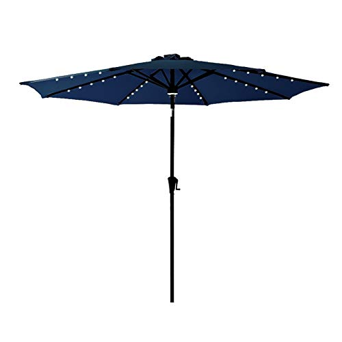 C-Hopetree 11 ft Outdoor Patio Market Umbrella with Solar LED Lights and Tilt, Navy Blue