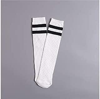 Lovely Socks Children Cotton Socks Kids Cotton Summer Vertical Stripe Mid Tube Socks (Turmeric) Newborn Sock (Color : White)