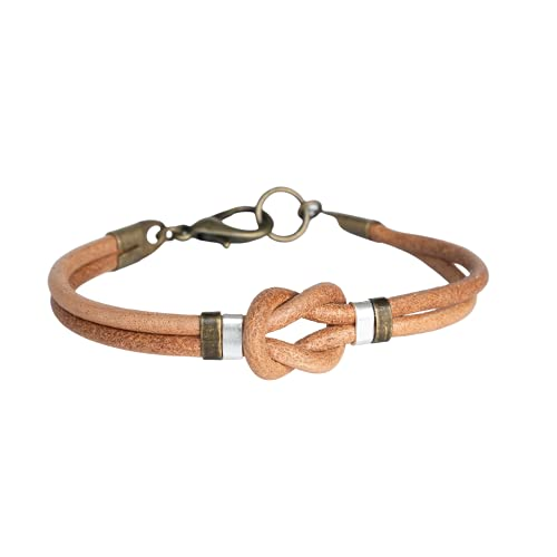 Men's Genuine Leather Bracelet, Infinity Celtic Knot Brown Leather and Brass Bangle Cuff, Boho Tribal Jewelry for Guys by Magoo