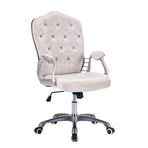 W-xiao Home Office Chair, Ergonomic Computer Chair, Rotation Adjustment Function, Flannel Armchair with Crystal Inlaid Backrest, for Home Decoration
