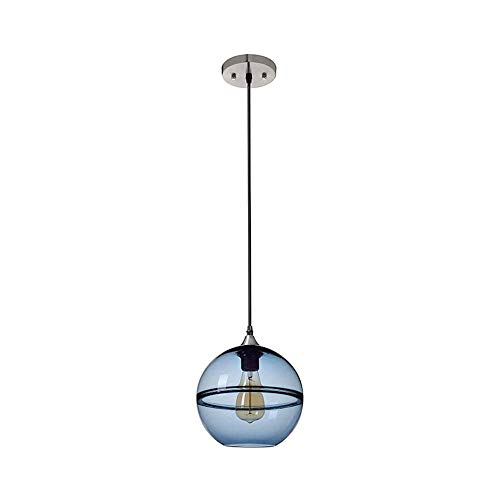 COCNI Lámpara Colgante de Cristal Transparente Simple Moderna Lámpara de lámpara de Bola Redonda Azul Tinta Lámpara de araña Dormitorio Loft Sala de Techo Lámpara Colgante Altura Ajustable