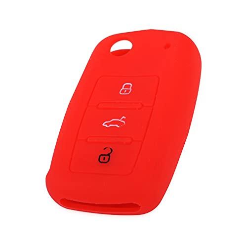 MITANG Star Firm Coche Silicona Negro 3 botón Llavero Cubierta Shell Ajuste para Skoda Fabia Octavia magnífico Asiento Ajuste para VW Jetta Fit for Golf Passat Polo Caddy Bora (Color Name : Red)