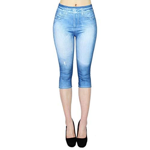 FANSHONN Women's Stretchy Fake Denim Shorts Jeans Look Butterfly Print High Waist Capris Leggings