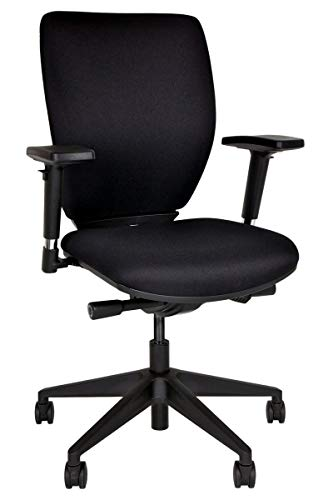Bisley Bürodrehstuhl Optime, Polster, Kunststofffußkreuz, Polyester, 733 Schwarz, 66 x 66 x 44 cm
