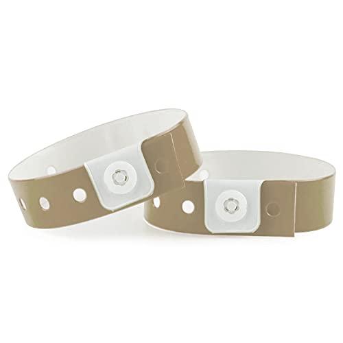 SRF - Pack 100 pulseras de vinilo - Plástico para eventos color dorado
