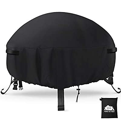 king do way Large Fire Pit Cover,Round Firepit Cover 600D Heavy Duty Oxford Fabric Waterproof,Windproof,Anti-UV,Rip Proof Outdoor Bowl Table Cover Garden Patio Heater Cover (Ø97 x 56cm) by Cee