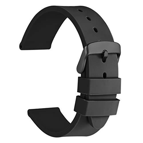 WOCCI 20mm Correa de Reloj de Silicona con Hebilla Negra, Banda de Repuesto de Goma Suave (Negro)